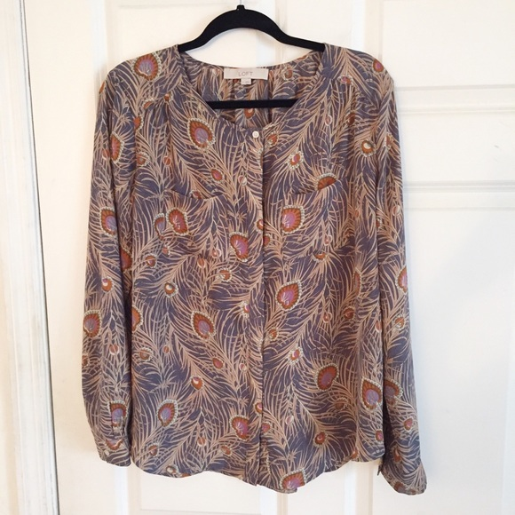 121ade66f478 Tops | Loft Peacock Feather Print Blouse Size M | Poshmark